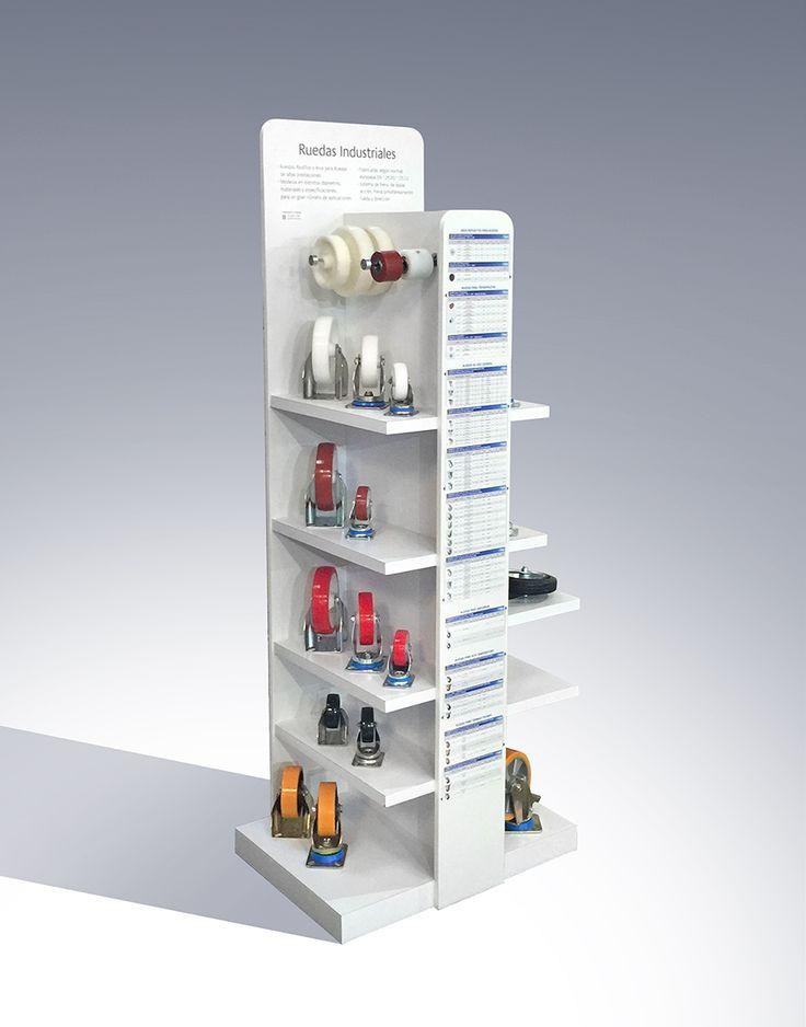 Conceptualización, Diseño y Confección mueble exhibidor de Ruedas Industriales para SABIC Chile
