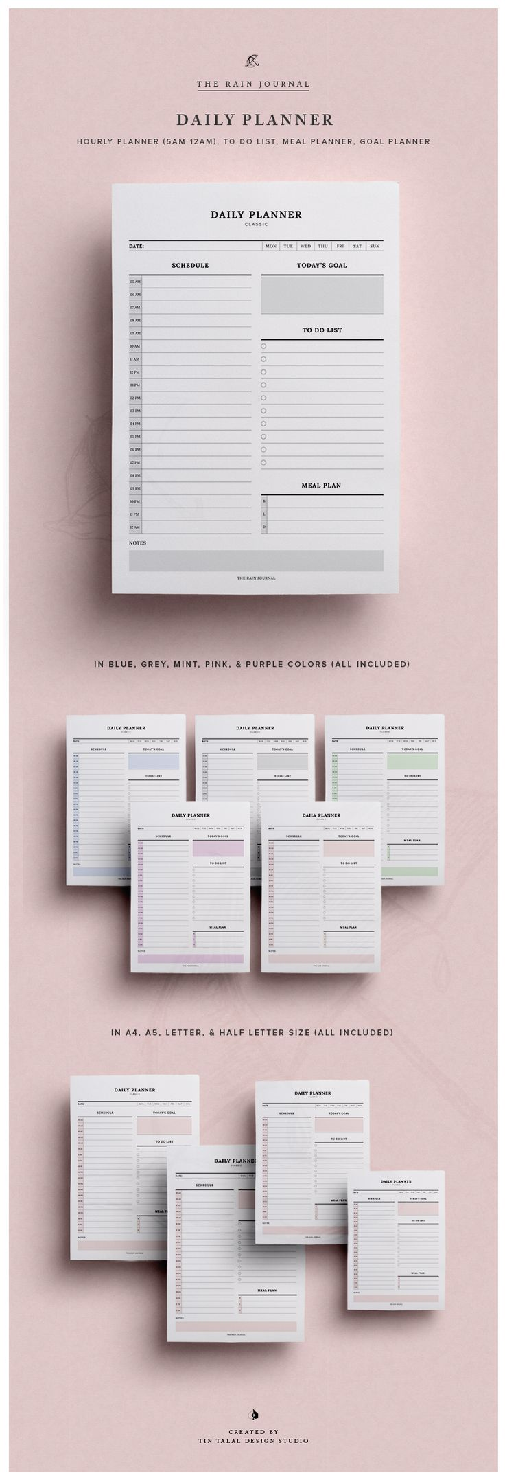 Daily Planner Printable w/ Hourly Planner, Meal Planner, & To Do List   Fit for Kikki K Large and A5 Filofax. This To Do List Planners can be inserted in your favorite planner!