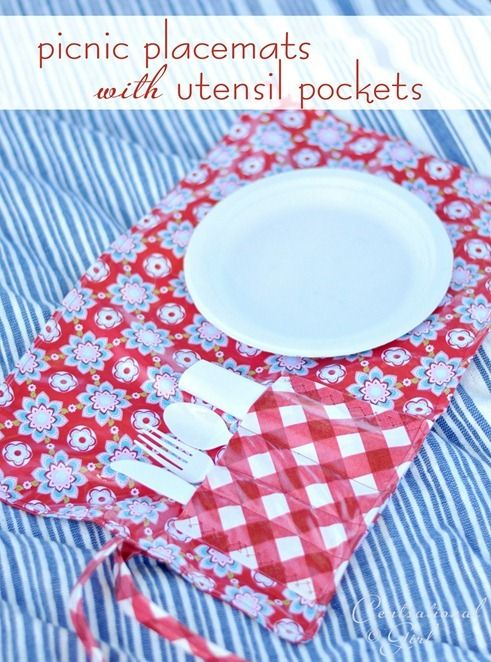 Picnic placemats/silverware holders. How cool to make out of laminated fabric. They roll up to go in the basket. I have to make these.