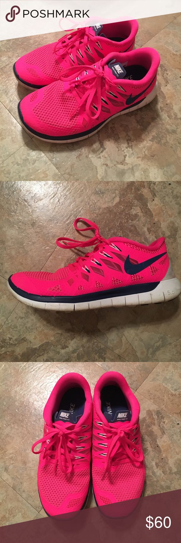Nike Free 5.0 Hot pink and purple Nike Free 5.0's in good condition. Not worn much since they were too small. Nike Shoes Sneakers