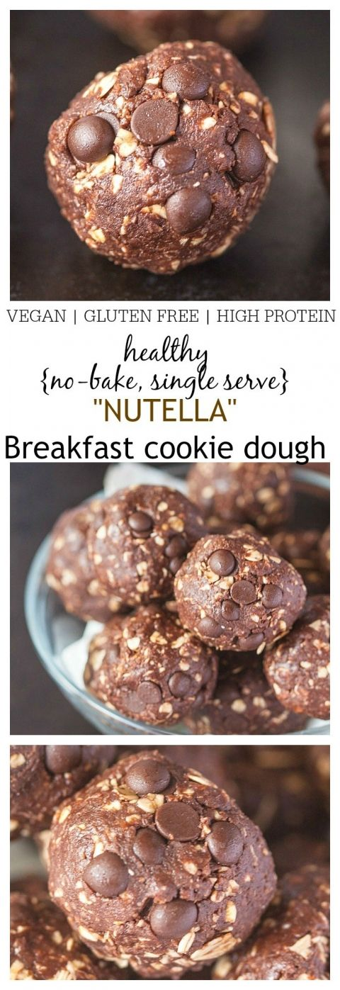 Healthy No Bake {Single Serve} Nutella Breakfast Cookie Dough- This single serve cookie dough recipe requires 1 bowl and 5 minutes to whip up- Gluten Free, Sugar Free, High in protein and vegan friendly too- The entire batch is a healthy option for breakfast!  @thebigmansworld -thebigmansworld.com