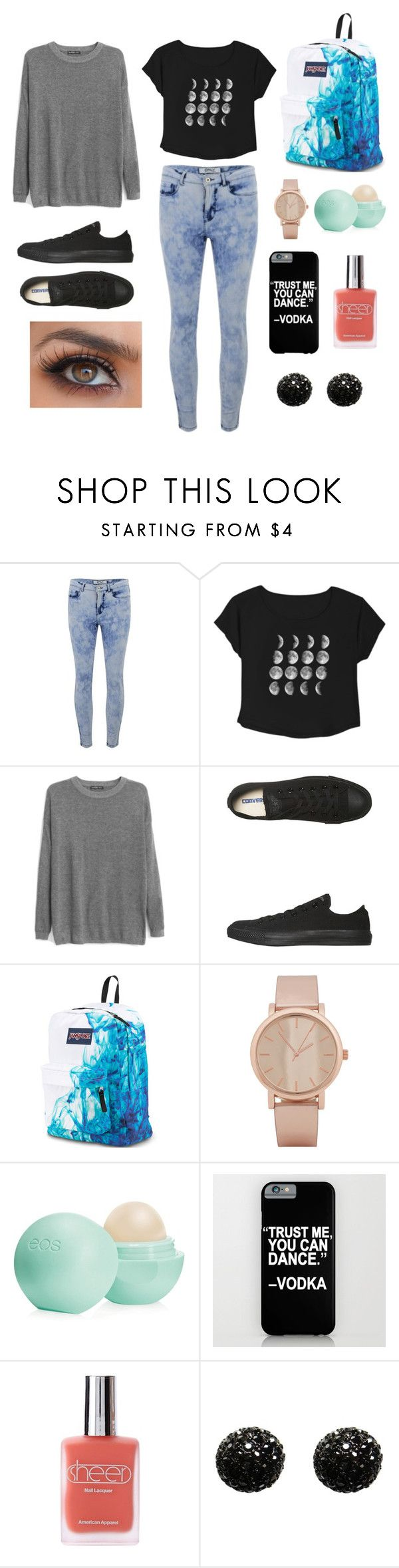 """School outfit tumblr"" by olive-barratt ❤ liked on Polyvore featuring ONLY, MANGO, Converse, JanSport, ALDO, Eos, American Apparel and Kenneth Jay Lane"