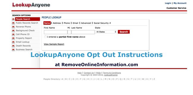Lookupanyone Opt Out Instructions How To Remove Your Information