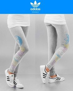 Adidas Originals Women Trefoil Legging Gray Logo Print Workout Yoga Pants  Size S in Clothing, Shoes & Accessories