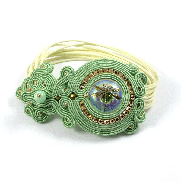 Dragonfly soutache cuff bracelet with handmade by byPiLLowDesign, $84.00