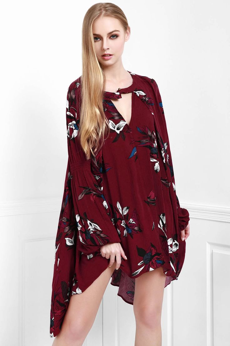 Maroon floral festival dress