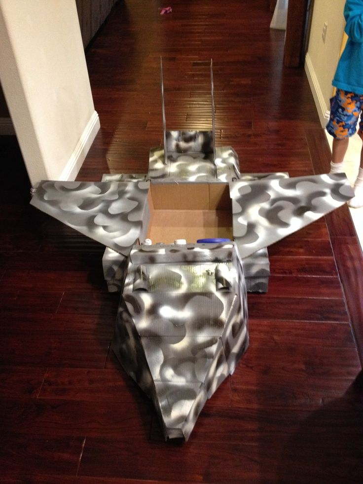 fighter jet painted cardboard