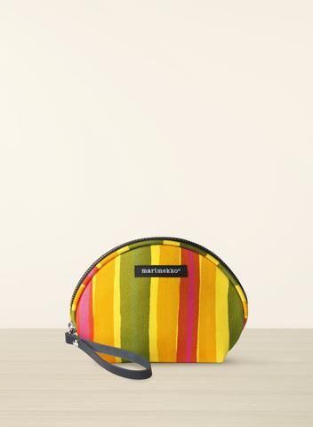 MARIMEKKO ROTTI MIKI POUCH  #pink #orange #green #yellow #cheer #stripes #kivet #pouch #bag #clutch #makeupbag #techcase #striped #preppy #classic #midcenturymodern #marimekko #pirkkoseattle #pirkkofinland
