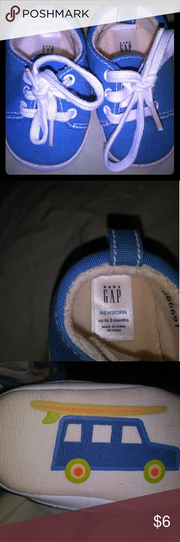 Baby Gap NB shoes Adorable newborn booty style shoes in baby blue. Made by Baby Gap like new GAP Shoes Baby & Walker