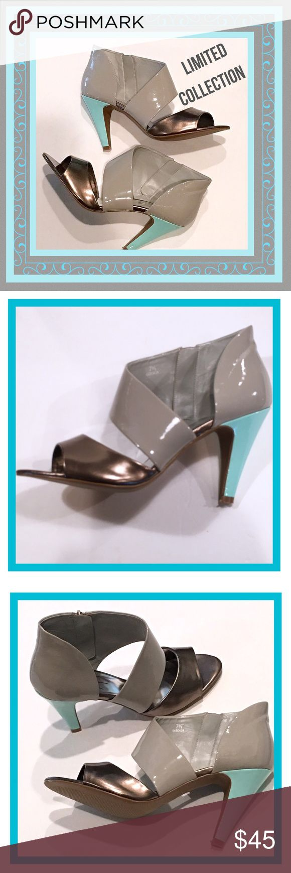 "LIMITED COLLECTION Open-Toed Patent Heels NEW 7.5 Tricolored slate gray, aqua and metallic bronze patent leather side zip open-toed heels, size 7.5.  Heel height is 4"".  Brand new...no box. Limited Collection Shoes Heels"