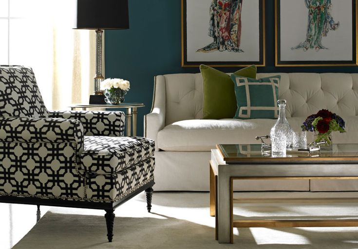Tufted Back Sofa - Upscale Home Furnishings, Traditional Furniture, Wood, Upholstery. Furnishings available through Design Center Associates. To the Trade Home Furnishings Showroom/ Lillian August