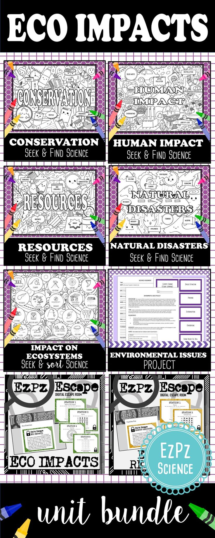 This Ecological Impacts Bundle will make a great addition to your ecosystem unit. This bundle contains my popular Science Seek & Finds, Escape Rooms, Seek and Sorts, and project on topics such as human impact on the environment, conservation, resources, watersheds, and natural disasters.