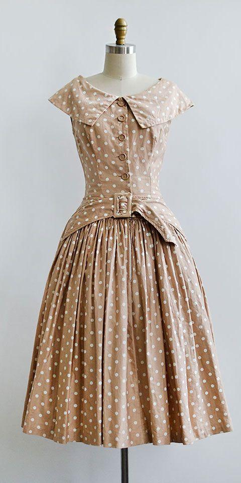 vintage 1950s tan polka dot Suzy Perette dress