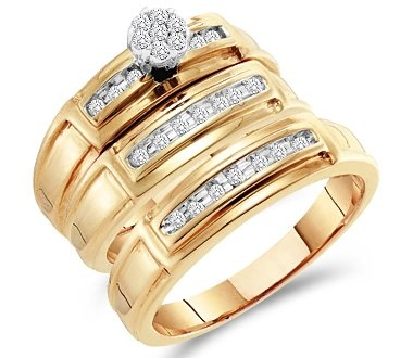 Diamond Engagement Rings Set Wedding Bands Yellow Gold Men Lady  |