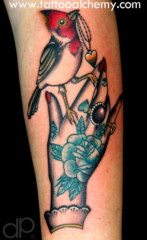 Traditional hand cardinal tattoo. Art work by Cassandra Frances. Tattooed by David Palacios. It was a privilege.