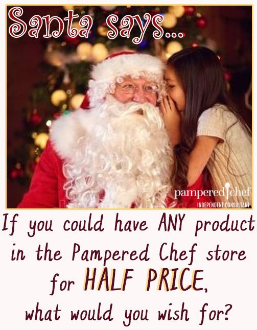 Pampered Chef Christmas Holiday Wish List Host a Party Half Price Products, Consultant Virtual Party Online Facebook Game