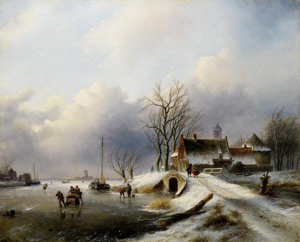 Jan Jacob Spohler - Winterlandschap met figuren op de bevroren rivier