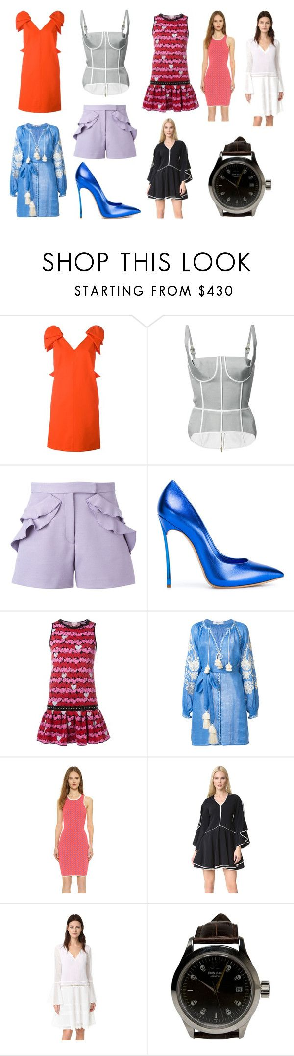 """Sudden new offered sale"" by donna-wang1 ❤ liked on Polyvore featuring MSGM, Thom Browne, Elie Saab, Casadei, Giamba, March 11, Jonathan Simkhai and John Isaac"
