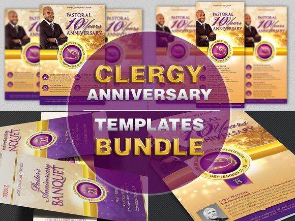Clergy Anniversary Templates Bundle by Godserv Graphics on @creativemarket