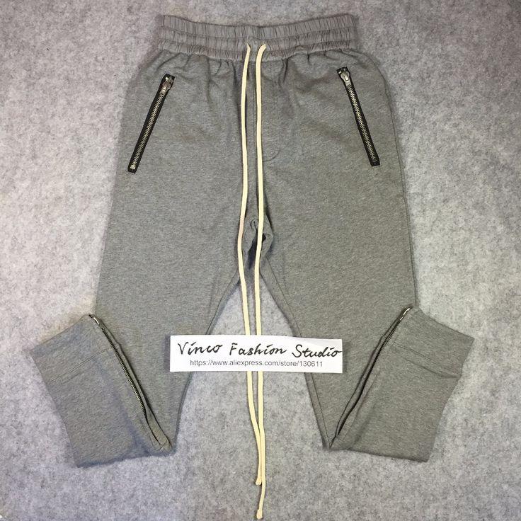 Best quality 2016 winter fear of god fog Drawstring Sweat pants zipper classic kanye west cotton jogger