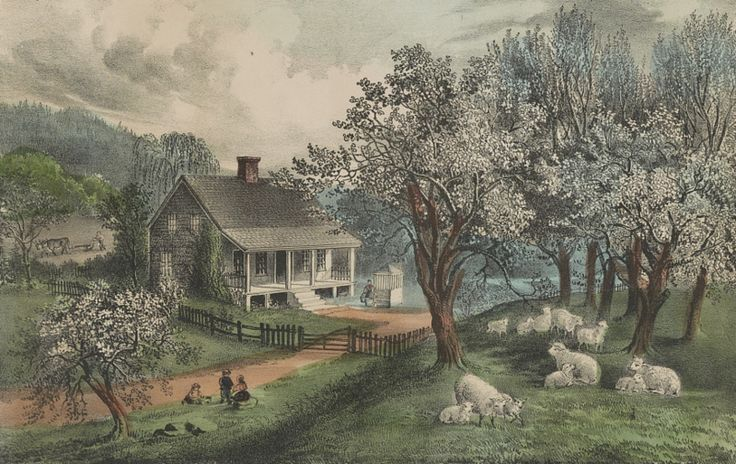 American homesteads like this one, in an 1869 lithograph by Currier & Ives, might be many miles away from their nearest neighbors.