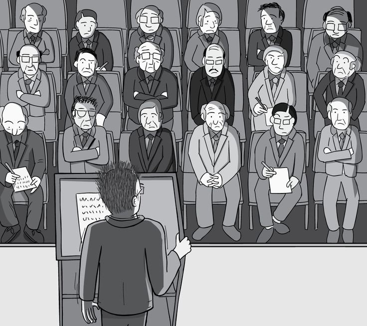 High angle of cartoon man delivering a speech to a crowd of onlookers. Black and white drawing of man behind podium speaking to audience. View from behind speaker's head. Image from Stuart McMillen's comic Peak Oil (2015), from the book Thermoeconomics (2016).