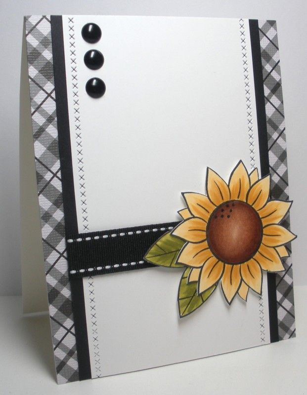 SC637 Sunflower Sketch by die cut diva - Cards and Paper Crafts at Splitcoaststampers