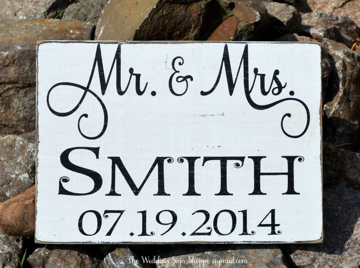 Wedding Sign Decor Personalized Gift Mr Mrs Last Family Name Rustic Wood Decorations