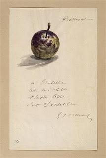"""Edouard Manet. Bellevue été 1880. Lettre à Isabelle Lemonnier."""" A Isabelle cette mirabelle et Isabelle c'est la plus belle ''."""