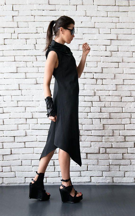 Schwarz asymmetrische Kleid/Plus Größe lose Tunika ...