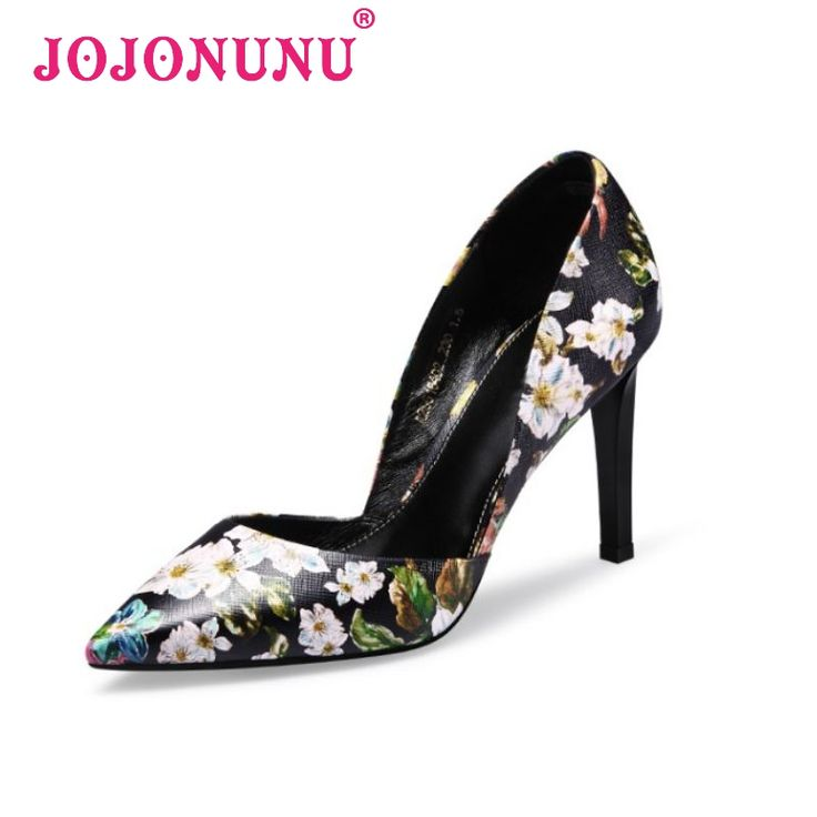 women high heel shoes woman real genuine leather brand pointed toe floral court shoes sexy footwear shoes size 34-39 PA00008