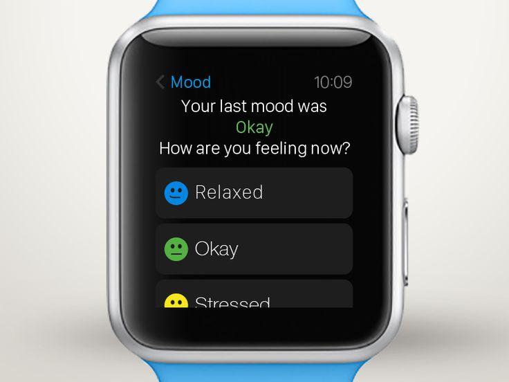 Select mood Apple Watch meditation UI