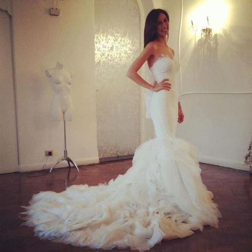 Love the train on this wedding dress www.wealthymen.com