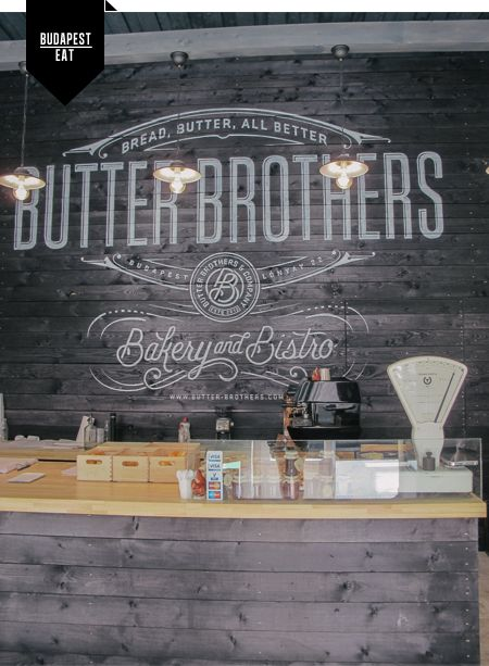 butter brothers // Budapest. I love the grey timber and the chalkboard writing above.
