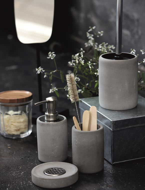 we are always on the hunt for fabulous accessories for the home and love this simple but striking concrete loo brush matching accessories from this - Concrete Bathroom Decoration