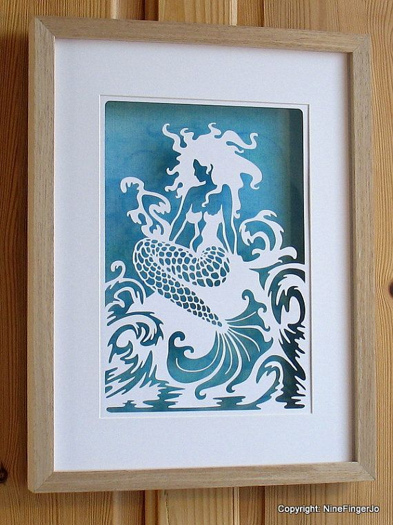 Fantasy Mermaid Paper Cut Art, Fantasy Mermaid & Stormy Sea Papercutting Art, Jade Teal White Mermaid Paper Cutting, Seascape, Intricate papercut of