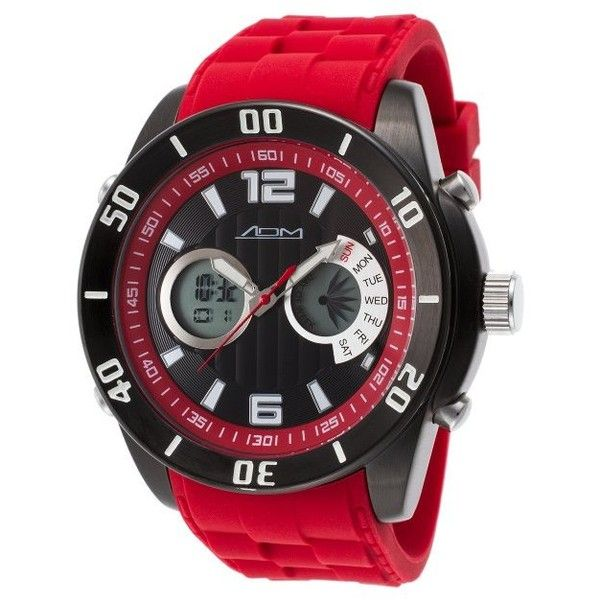 ADM Sport Men's New York Digital Analog Chronograph Red Silicone Black... ($30) ❤ liked on Polyvore featuring men's fashion, men's jewelry, men's watches, red, watches, mens analog watches, mens leather strap watches, mens chronograph watch, mens analog digital watches and mens digital sport watches