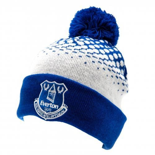 Adult's knitted Everton bobble hat in club colours and featuring the club crest on the turn up at the front. FREE DELIVERY on all of our gifts
