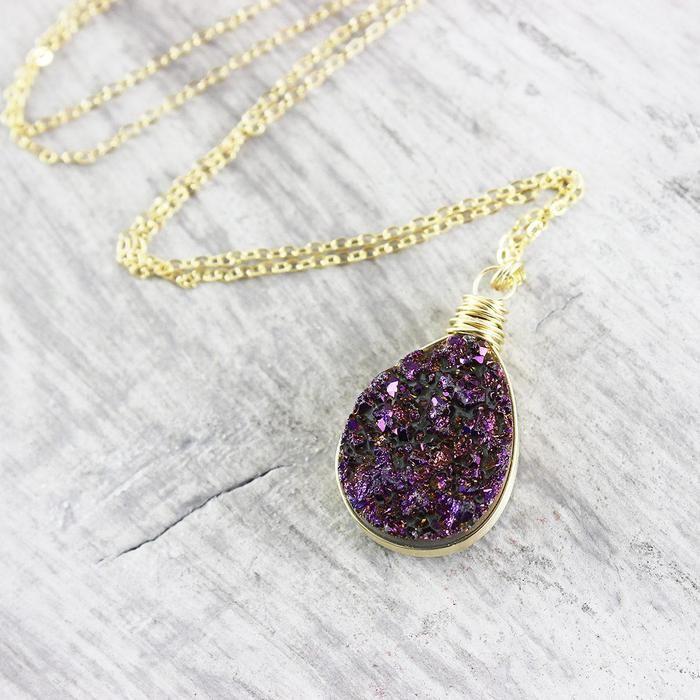 Dark Purple Gold Druzy Teardrop Necklace | Necklace | Jewelry | Druzy Jewelry | #druzy #druzyjewelry #jewelry #handmadejewelry | www.starlettadesigns.com