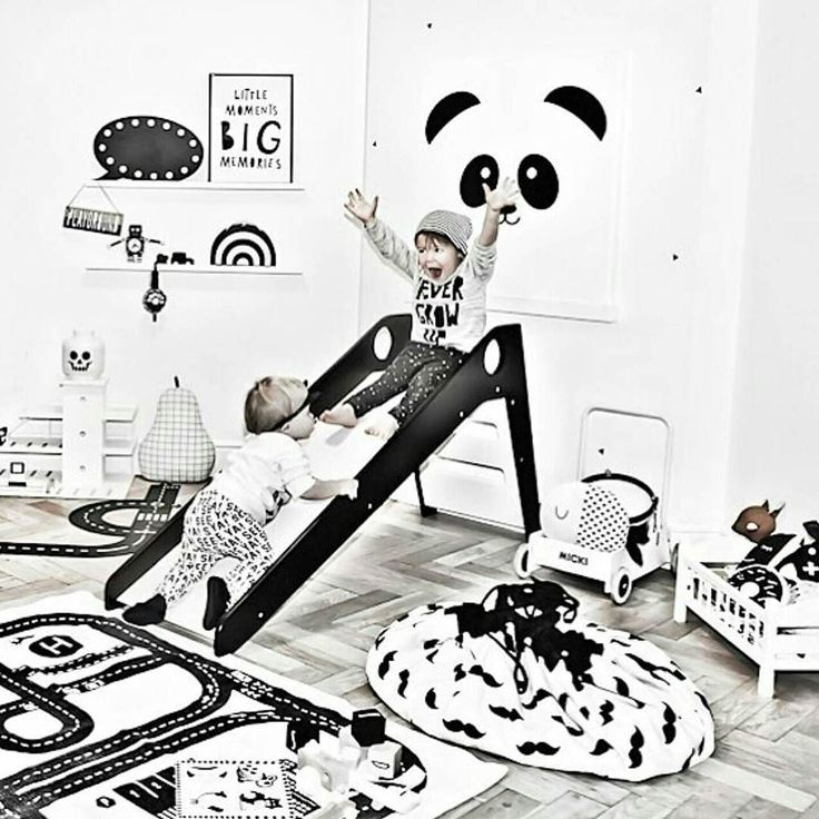 This rocks!  Great photo of kids having fun in this monochrome kidsroom!!Thanks @huusjedesign @therockingthree #monochrome #playing #playandgo #moustache #lego #toys #wooden
