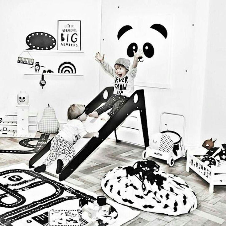 This rocks!  Great photo of kids having fun in this monochrome kidsroom!!Thanks @huusjedesign @therockingthree #monochrome #playing #playandgo #moustache #lego #toys #wooden