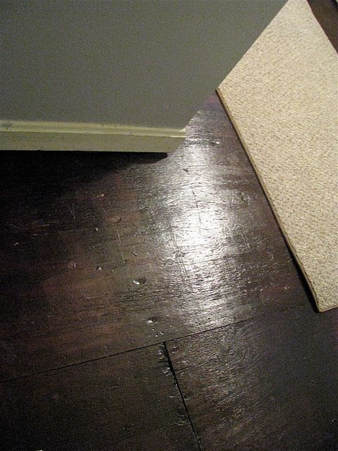 painted plywood subfloor - with rustoleum kona brown and some poly to finish