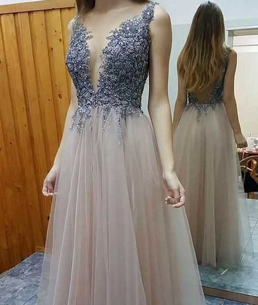 Cute round neck tulle long prom dress for teens, tulle evening dresses