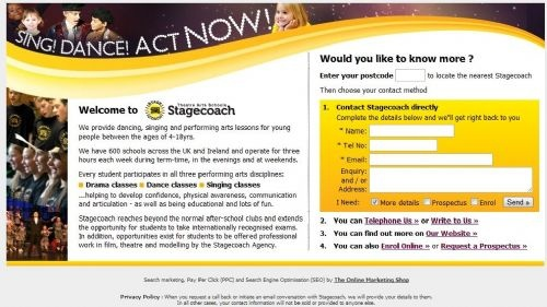 The Online Marketing Shop - Stagecoach Theatre Arts - Pay Per Click landing page - on FreeIndex