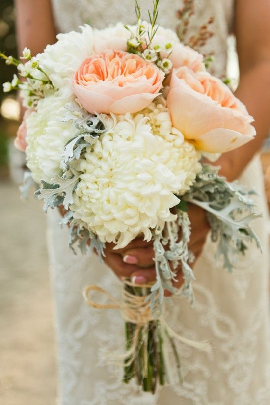 Peach and white bouquet.