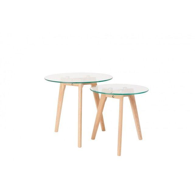 Bror 2 Tables Basses Scandinaves Verre Et Chene Table Basse Scandinave Table Basse Table Basse Ronde