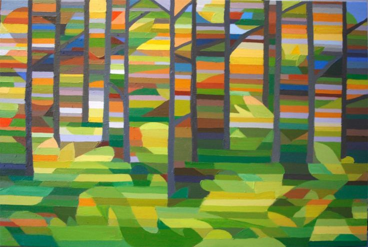 Green and Yellow Forest Oil on Canvas 24 X 36
