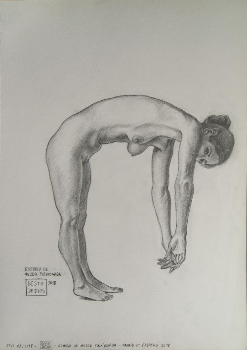 Mujer flexionada, dibujo a lápiz, grafito, arte, art. #gestodedios