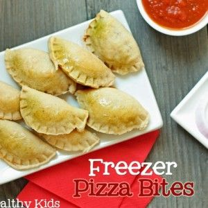 Freezer Pizza Bites made with pizza dough/pre bake and put it in the freezer for later to reheat
