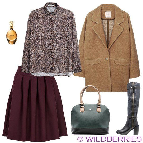 Красная юбка, коричневое боди, зеленая сумка, коричневые сапоги